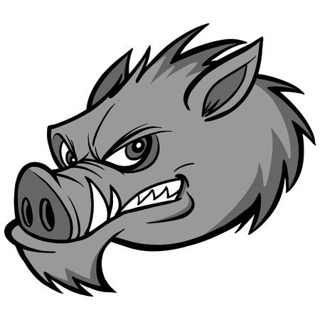 Razorback mascot illustration - a vector cartoon illustration of a razorback mascot.
