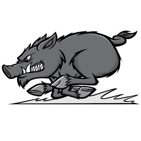 Razorback run illustration - a vector cartoon illustration of a razorback mascot running.