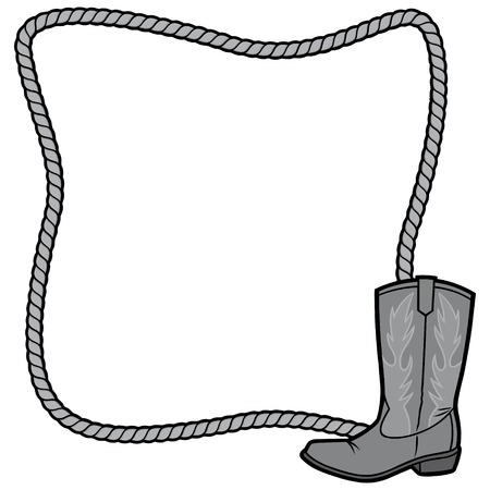 Rope Frame and Boot Illustration - A vector cartoon illustration of a Rope Border Lasso concept.