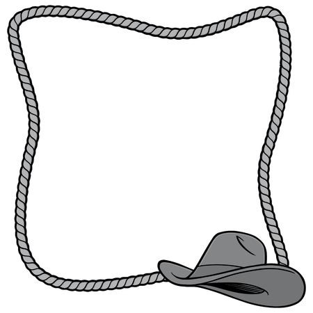 Rope Frame and Cowboy Hat Illustration - A vector cartoon illustration of a few Rope Border concepts.