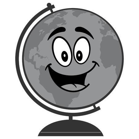 School globe illustration - A vector cartoon illustration of a school globe mascot concept. 向量圖像