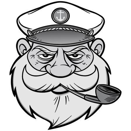 Sea Captain Illustration - A vector cartoon illustration of a Sea Captain mascot. Иллюстрация