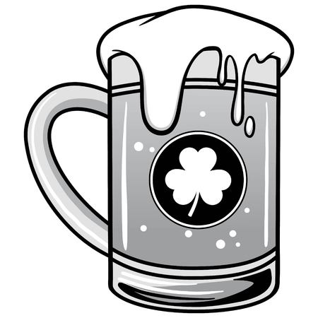Shamrock Beer Illustration - A vector cartoon illustration of a mug of Shamrock Beer. Ilustração