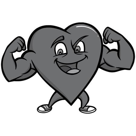 Strong Heart Character Illustration - A vector cartoon illustration of a Strong Heart concept. Фото со стока - 97100980