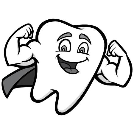 Super Tooth Illustration - A vector cartoon illustration of a Superhero Tooth. Иллюстрация