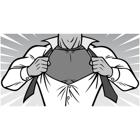 Superhero Chest Illustration - A vector cartoon illustration of a Superhero ripping shirt off concept.