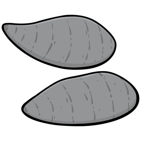Sweet Potatoes Illustration - A vector cartoon illustration of a couple of Sweet Potatoes.