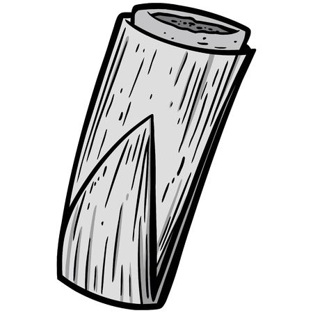 Tamale Illustration - A vector cartoon illustration of a fresh Tamale.