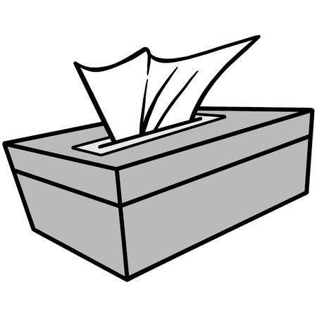 Tissue Box Illustration - A vector cartoon illustration of a bathroom Tissue Box. Çizim
