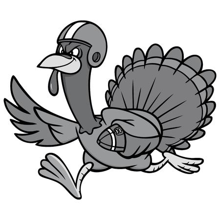 Turkey with Football Illustration - A vector cartoon illustration of a Turkey running with a Football. Illustration