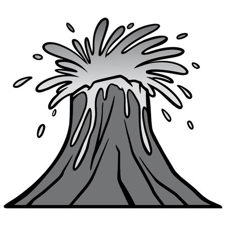 Volcano Blast Illustration - A vector cartoon illustration of a Volcano eruption with Lava.