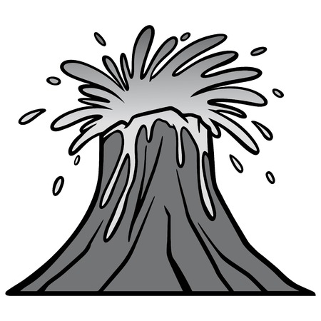 Volcano Blast Illustration - A vector cartoon illustration of a Volcano eruption with Lava.