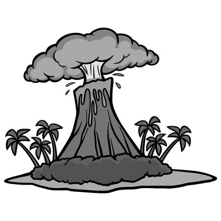Volcano Island Illustration - A vector cartoon illustration of an island with a erupting Volcano.