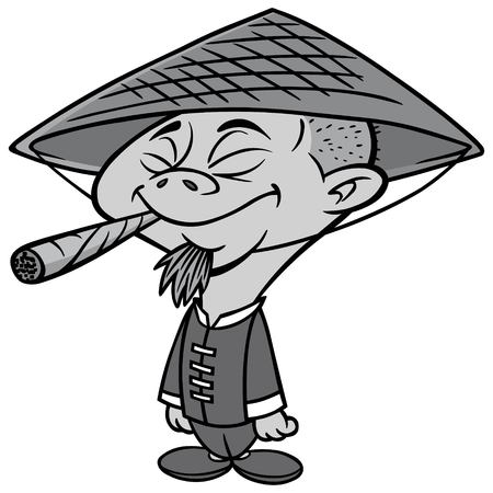 Weed Man Illustration - A vector cartoon illustration of an Asian man smoking Marijuana.