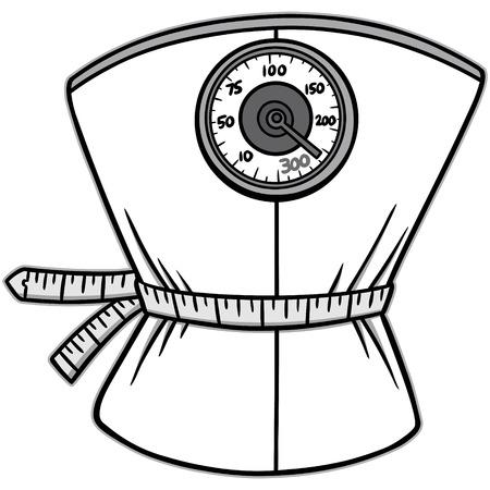 Weight loss scales illustration Illustration
