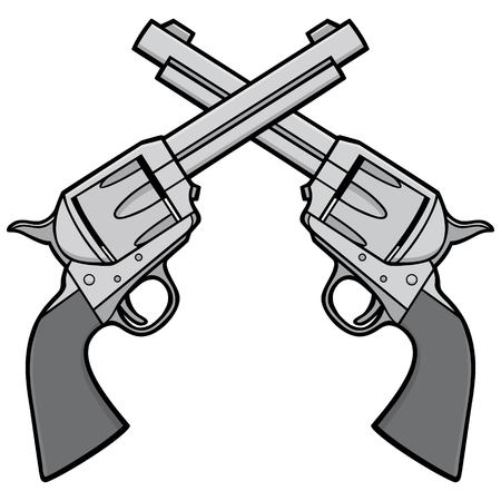 Wild West Revolvers Illustration - A vector cartoon illustration of a pair of Wild West Revolvers. Illusztráció