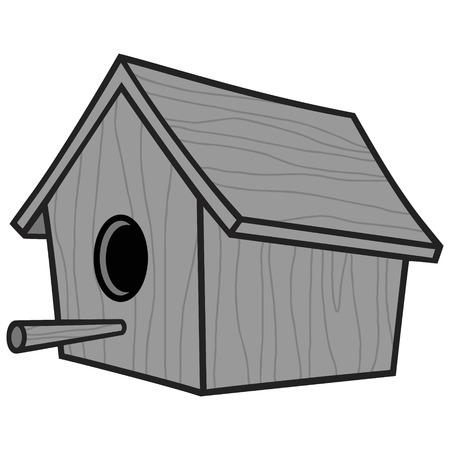 Wooden Birdhouse Illustration - Eine Vektor-Cartoon-Illustration eines hölzernen Vogelhauses. Standard-Bild - 97049678