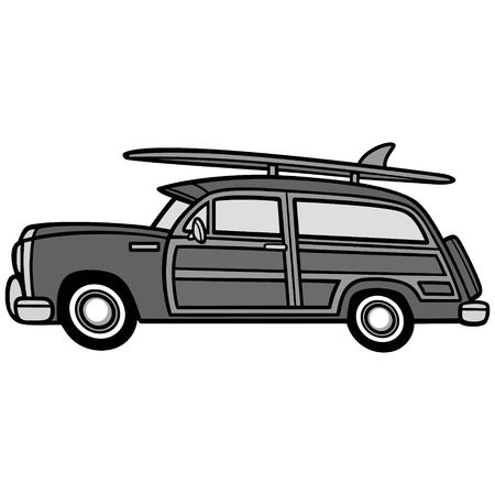 Woodie Surf Wagon Illustration - A vector cartoon illustration of a Woodie Surf Wagon. Иллюстрация