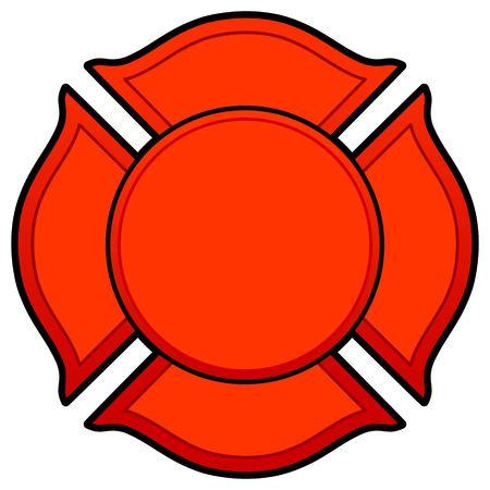 Firefighter Logo - A vector cartoon illustration of a Firefighter Logo concept.  イラスト・ベクター素材