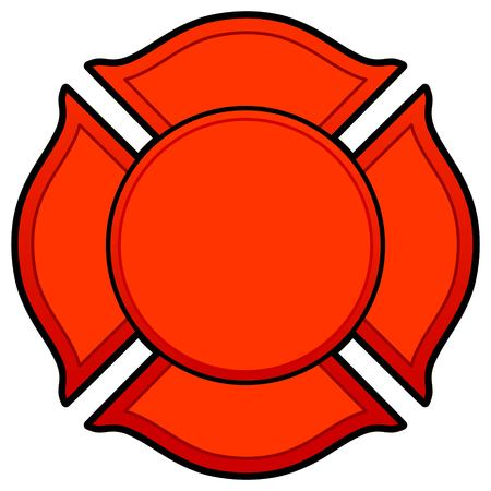 Firefighter Logo - A vector cartoon illustration of a Firefighter Logo concept.  イラスト・ベクター素材