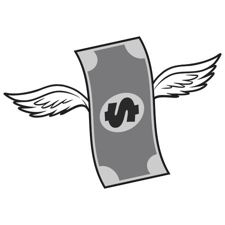 Black And White Dollar With Wings - A vector cartoon illustration of a Dollar with Wings concept.