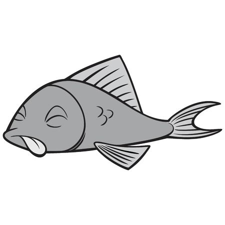 Black And White Dead Fish - A vector cartoon illustration of a Black And White Dead Fish.