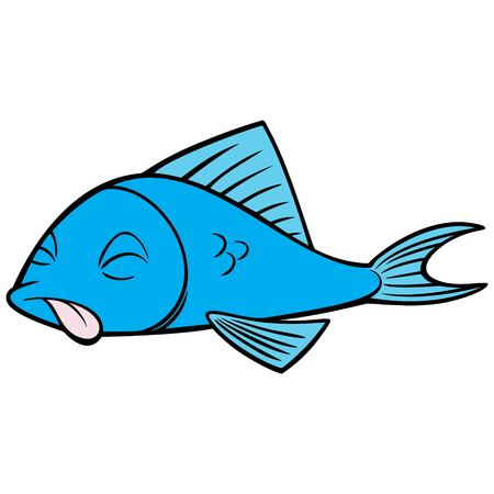 Dead Fish - A vector cartoon illustration of a Dead Fish concept.
