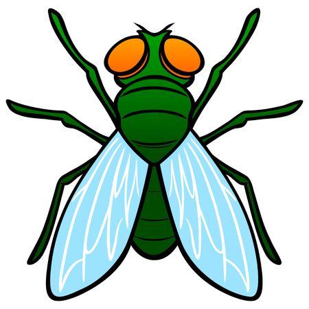 Fly widok z góry - ilustracja kreskówka wektor widoku z góry muchy.