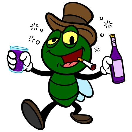 Bar Fly with Wine - A vector cartoon illustration of a Bar Fly with Wine. Illustration
