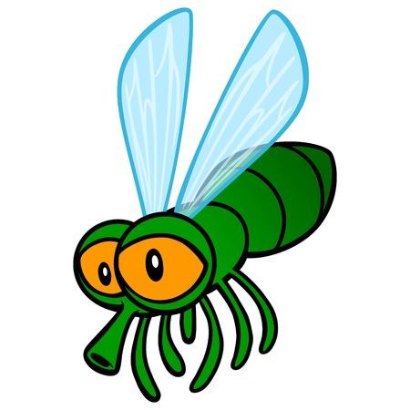 Fly Cartoon - ilustracja kreskówka wektor cute kreskówki Mucha.