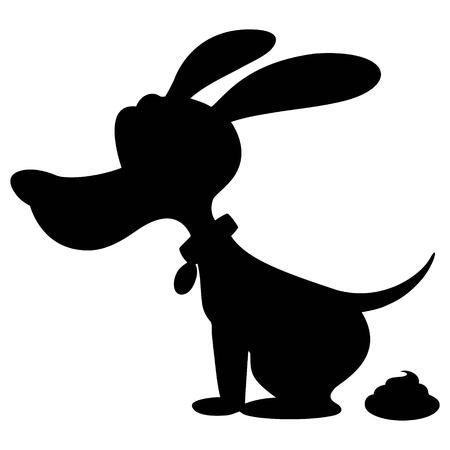 A vector cartoon illustration of a Dog Poop Silhouette. Illustration