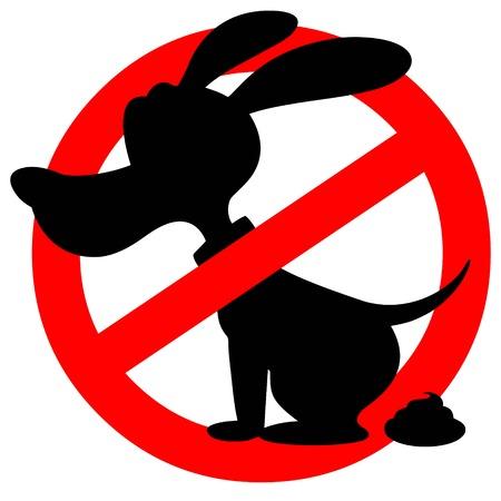 A vector cartoon illustration of a Dog Poop Warning sign.