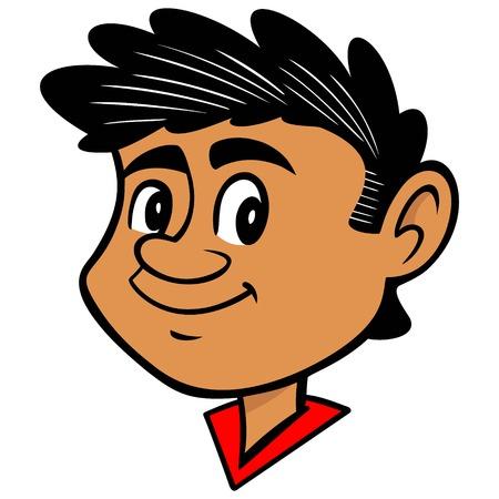 Pedro - A vector cartoon illustration of a young hispanic boy.