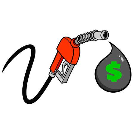Gas Pump Price Drop - A vector cartoon illustration of a gas pump concept. Иллюстрация