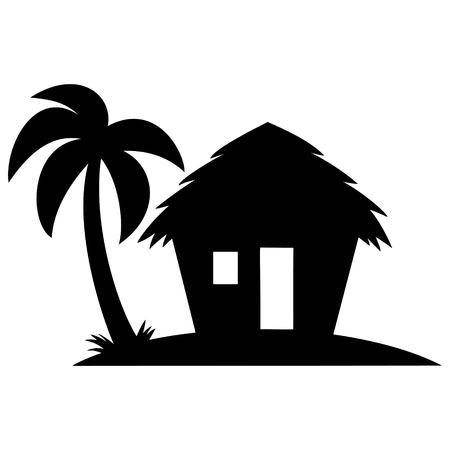 Beach Cabana Silhouette - A vector cartoon illustration of a Beach Cabana Silhouette.