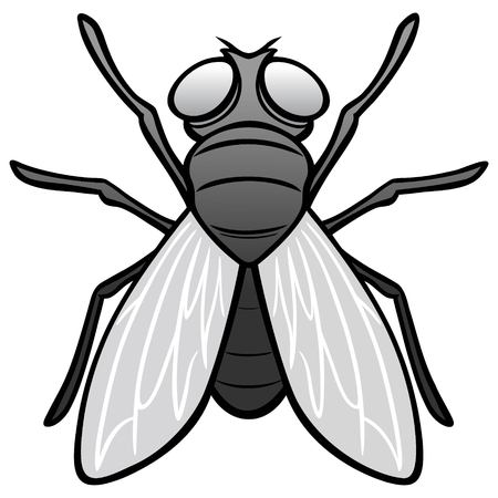 Black and White Fly Top View - A vector cartoon illustration of a top view of a Fly. Ilustracja