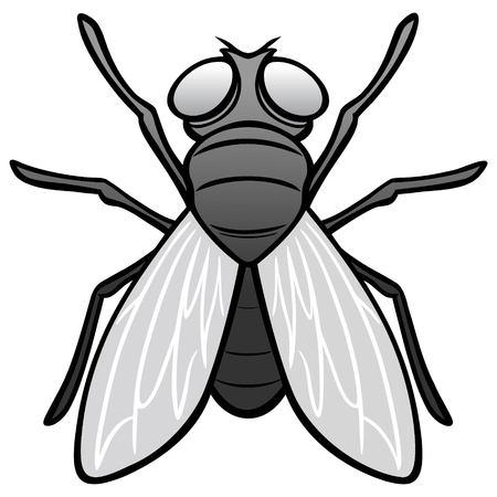 Czarno-biały widok z góry mucha - ilustracja kreskówka wektor widoku z góry muchy.