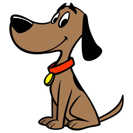 Dog with Collar - A vector cartoon illustration of a Dog with a red collar. Ilustracja
