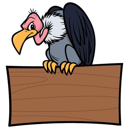 Vautour avec signe - une illustration de dessin animé de vecteur d'un vautour assis sur un panneau en bois.
