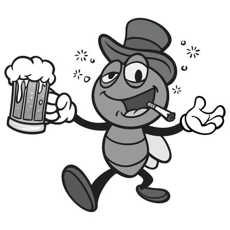 Black and White Bar Fly with Beer - A vector cartoon illustration of a Bar Fly with Beer.