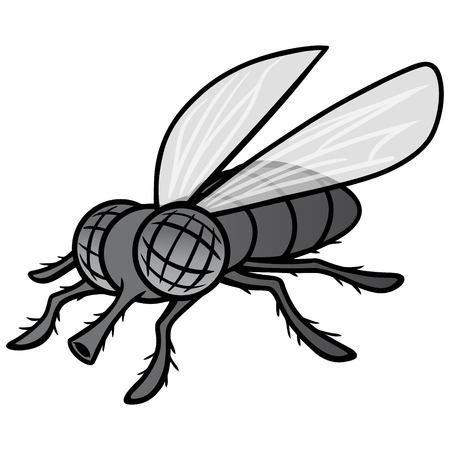 Czarno-biała maskotka mucha - ilustracja kreskówka wektor mucha maskotka.