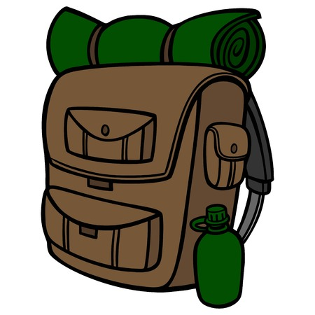 Hiking Backpack - A vector cartoon illustration of a Hiking Backpack.