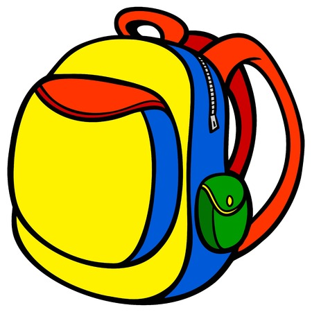 School Backpack - A vector cartoon illustration of a School Backpack.