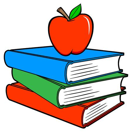 School Books with an Apple - A vector cartoon illustration of a few school books and an apple.