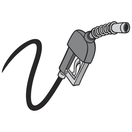 Black and White Gas Pump - A vector cartoon illustration of a gas pump concept.