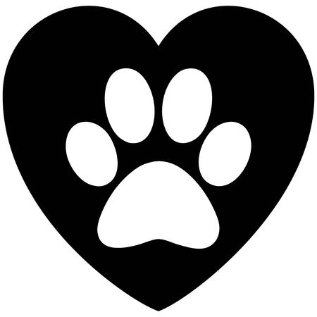 Black and White Paw Print Heart - A vector cartoon illustration of a Paw Print on a Heart.
