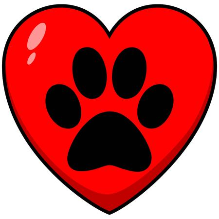 Paw Print Heart - A vector cartoon illustration of a Paw Print on a Heart. Illustration