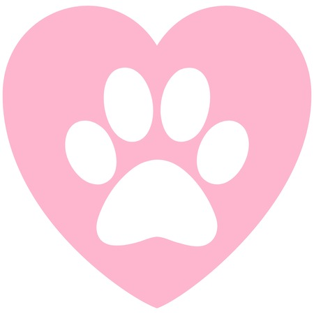 Paw Print Pink Heart - A vector cartoon illustration of a Paw Print on a Heart.