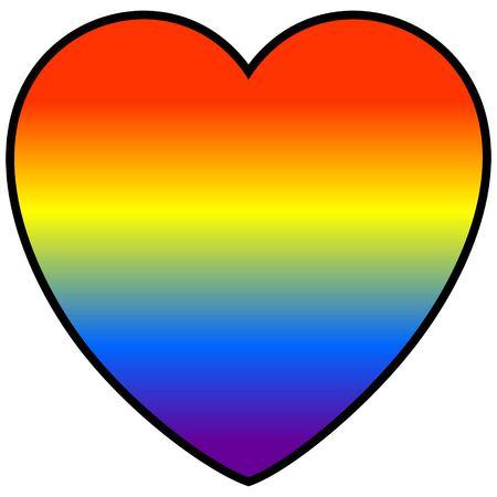Rainbow Heart - A vector cartoon illustration of a colorful rainbow heart. Ilustração