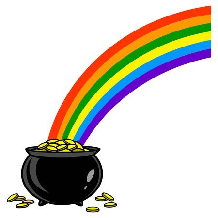 Rainbow with Pot of Gold - A vector cartoon illustration of a rainbow with a pot of gold. Illustration